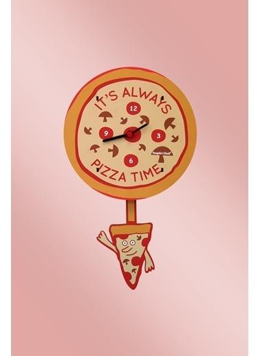 Peoples Clock Pizza Zamanı Sallanan Sarkaçlı Çocuk Odası Duvar Saati Renkli